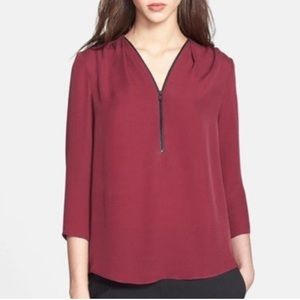 Theory Sala Silk Top Cranberry Red